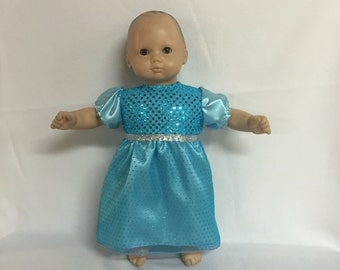 Doll Clothes for Most 15 Inch American Girl Bitty Baby Doll or Bitty Girl Twin Doll Dress Blue Christmas Princess Ice Queen Party Dress