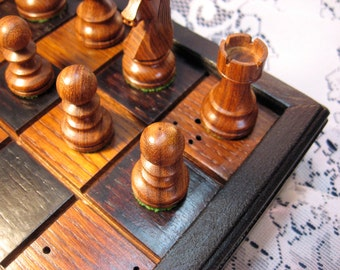 Recaimed Old Growth Oak Chess Set From 1830's Barn Beams