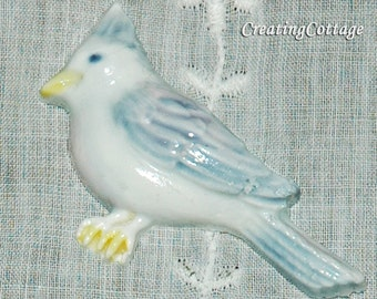 Destash Sale Bluebird Blue Jay Bird Craft Supply Brooch Pin Hand Painted