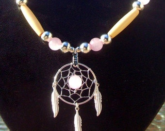 LOVE DREAMS NECKLACE, Native American made dream catcher necklace, Love stone, Rose quartz necklace, tribal, Boho, Southwestern, beaded