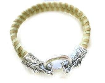 Dragon Clasp Suede woven Bangle bracelet Yellow Green silver Fantasy Bangle