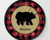 Black Bear Buffalo Plaid Lumberjack Pattern Rustic Hunter Wall Clock / 10-inch / Black Frame - add a name