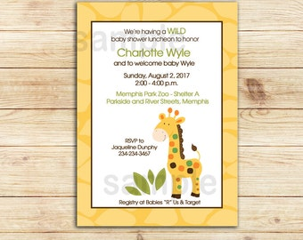 Yellow Giraffe Baby Shower Invitation | Gender Neutral | Printable Baby Shower Invitation