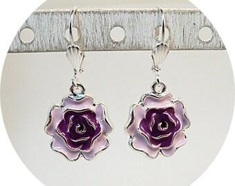 Purple Earrings, Purple Flower Earrings, Pink Earrings, Dangle Earrings, Pink Purple Earrings, Summer Fashion Earrings, Flower Dangle