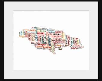 Jamaica Map Typography Map Poster Print Color