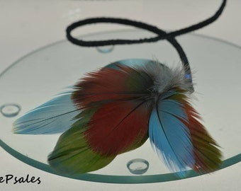 Feather Hair Clip, Feather Hair Dangler, Feather Hair Accessory, Hair Feathers, Feather Dangler, Red, Green, Blue, Gifts for her