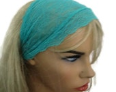 Turquoise green, Aqua green Stretch Lace Headband, Bridesmaids Hair Wrap..Anytime fashion