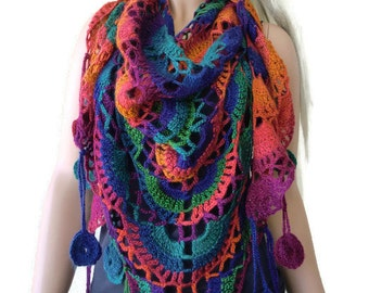 Colors of joy scarf-Red, orange,green and blue -Boho scarf , Crochet lace scarf with fringes-Handmade boho scarf-OnlyONE
