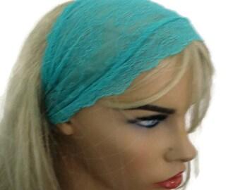 Turquoise green, Aqua green Stretch Lace Headband, Bridesmaids Hair Wrap..Anytime fashion