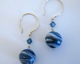 Sterling Silver Earrings, Blue and White, Polymer Clay Beads, Jupiter Beads, Swirl Beads, Denim Crystals, Blue Crystals, Round Hooks