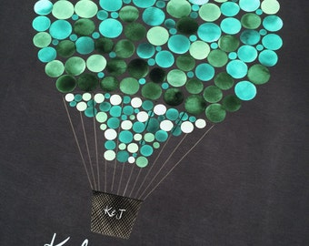 Engagement Valentine gift Destination Wedding Guest Book - HOT AIR BALLOON painted by Elena