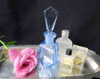 Blue Glass Perfume Bottle Czech Glass Perfume Bottle with stopper & dabber, 1950s, Gift for her
