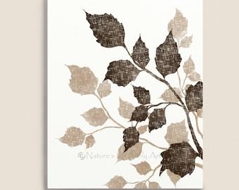 8 x 10 Printable Art, Tree Leaves, Leaf Digital Art, Brown and Tan Wall Decor, Digital Download, Downloadable Art, Digital Wall Art