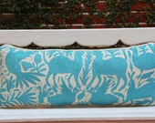 Aqua  Lumbar Hand Embroidered Otomi Cushion Sham