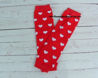 Baby Leg Warmers Red with White Heart Baby Girl Toddler Valentine