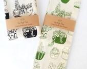Kitchen Towel, Hand Printed, Succulents, Natural Cotton, Choose Your Color
