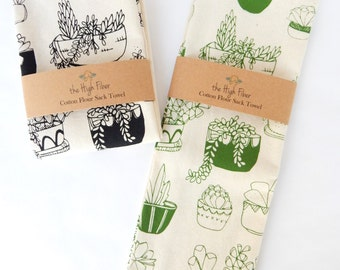 Kitchen Towel, Hand Printed, Succulents, Natural Cotton, Choose Your Color