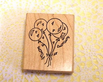 The Artful Stamper Wood Mounted Rubber Stamp Balloons