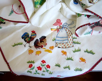 Vintage Cotton Table Cloth, Friendly design, White colorful childhood illustrations