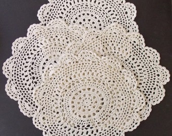 "4 Crochet Doilies 11"" D, Large Round Doilies, Cream Colored, Centerpiece, Round Table Topper, Wedding Linens, Housewares, Home Decor"