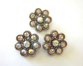Vintage Rhinestone Buttons Aurora Borealis Sewing Supply Coat Buttons