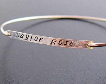 Hand Stamped Engraved Bracelet for Women, Hammered Silver Bracelet, Handstamped Engraved Bangle Bracelet, Hammered Silver Bangle Bracelet