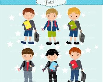 ON SALE boys clip art, school boy clip art, back to school, small commercial personnal use, instant download clip art, classmate clip art