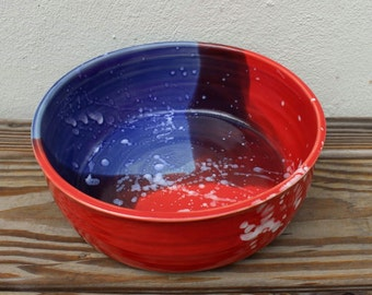 Patriotic. American. USA. American Flag. Red White and Blue. Bowl. Unique. Serving. Ceramic. Americana. Wedding Gift. Made in Virginia. Clay