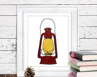 Lantern Camping Illustration Art in Red - 8x10 Printable