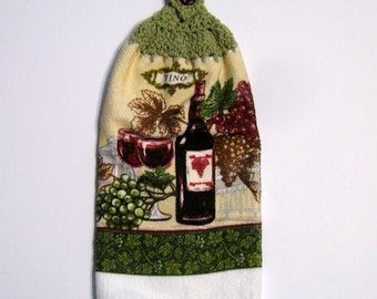 Wine and Grapes Hanging Towel, Kitchen supplies, Hostess Gift, Handmade by NormasTreasures