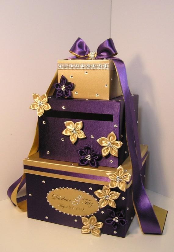 Wedding Gift Card Box Gold : Wedding Card Box Purple and Gold Gift Card Box Money Box Holder ...