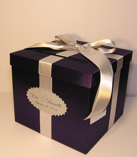 Purple Wedding Card Box: Wedding Card Box Purple And Silver Gift Card Box Money Box