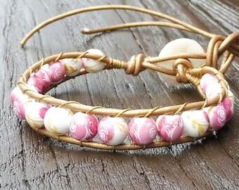 Rose Beaded Wrap Bracelet - Single Wrap Bracelet, Rose Patterned Ceramic Bead Beads, Bronze Leather Bracelet