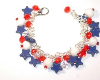 4th of July Charm Bracelet , July the 4th Charm Bracelet , Fourth of July Charm Bracelet , Fourth of July Bracelet