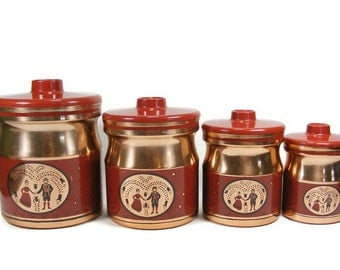 Canister Set 4 piece Aluminum Canisters with Copper Finish by Kromex Pensylvania Dutch Design