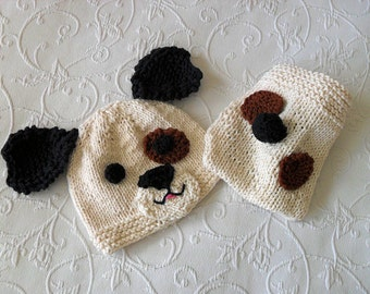 Hand Knitted Baby HAT and  DIAPER COVER, Puppy Dog  Baby Hat and Diaper cotton knitted baby hat Newborn Knitted Baby Hat Knitted Baby Beanie