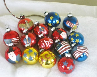 Vintage 15 Handpainted Patriotic Christmas Ornaments, Red White and Blue Tree Trimming Round Balls, Stars, Stripes, Uncle Sam