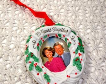 Vintage Hallmark Keepsake Christmas Ornament, Twenty-Five Years Together Photoholder, Porcelain, Boxed, Wreath, 25 Years, 1989 (925-15)