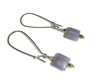 Long Dangle Simple Feminine Earring Purple