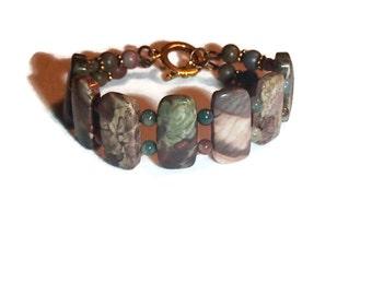 Jasper Double Strand Bracelet Jasper Bracelet Jasper and Brass