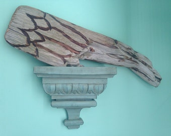 Large beach driftwood carved angel ir bird wing
