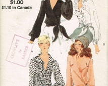 70s Ruffled Blouse Pattern Miss Vogue 7897 Bust 31 1/2 Side Wrap Blouse Long Sleeves V-Neckline Vintage 1970 Sewing Pattern