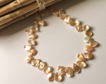 Peachy Pink Keshi Pearl Strands, 12 to 14mm X 15 to 19mm, High Luster, Shimmering Gold and Cream Tones, AAA Quality Standard