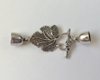 Antique Silver Grape Leaf  Loop with Grape Cluster Toggle Bar and 8mm End Caps