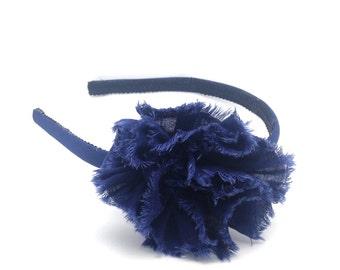 Navy Shabby Chic Flower Headband - Skinny Headband Solid Navy Blue w/ Navy Shabby Flower, Little Girl Headband, Big Girl Headband