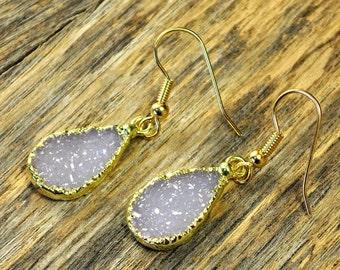 Valentine SALE - Druzy Earrings, Druzy Gold Earrings, Druzy Jewelry, Druzy Pendant Earrings, Druzy Gold Earrings, Druzy Stone, 14k Gold F...