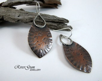 Mixed Metal Earrings, Textured Copper & Silver Teardrop Earrings, Metalsmith, Earthy Organic Style, Sterling Silver Earwires