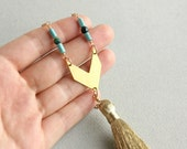 Long Gold Tassel Necklace - turquoise and gold chevron necklace, boho jewelry, metal statement jewelry, metalsmith, arrow necklace
