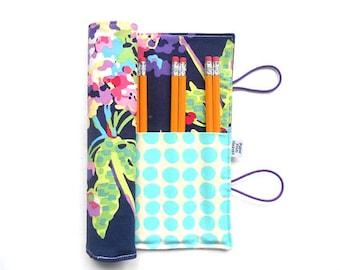 Pencil Roll  - Midnight Water Bouquet -holds 16 - 24 pencils - Crochet hook roll knitting needles stocking stuffer homeschool colored pencil
