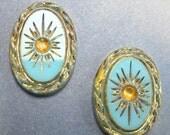 SALE Vintage Glass Cabochons 2 18x13 Rare Art Deco Turquoise Gold Stones S-33